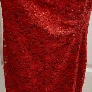 Women new red lace dress size 12